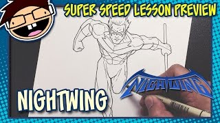 Lesson Preview: How to Draw NIGHTWING (Classic Comic Version) | Super Speed Time Lapse Art