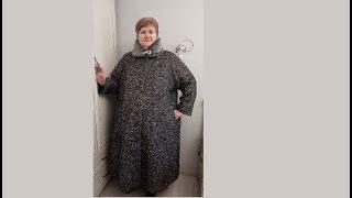 Зимнее пальто большого размера с нестандартной конструкцией воротника