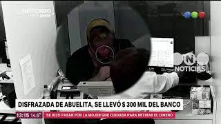 Disfrazada de abuelita, se llevó $300 mil del banco - El noticiero de la gente
