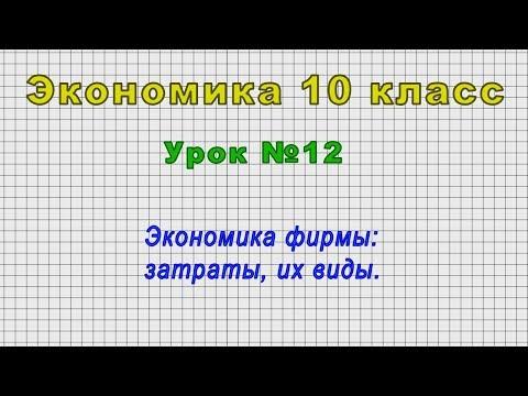 Экономика 10 класс (Урок№12 - Экономика фирмы: затраты, их виды.)
