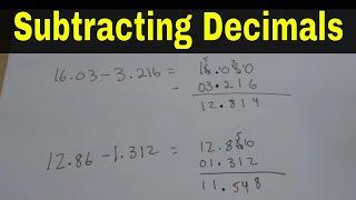 Subtracting Decimals-Easy Math Lesson
