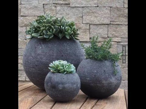 Cara Mudah Membuat Pot Bunga Dari Semen Part1 Youtube