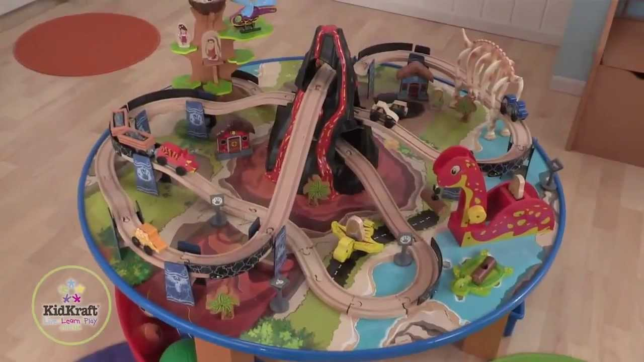 & KidKraft - Dinosaur Train Table Wooden - Train Set - YouTube