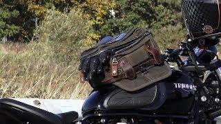 Triumph Bonneville T120 & Bobber black, BURLY BRAND Voyager tank bag/tail bag!