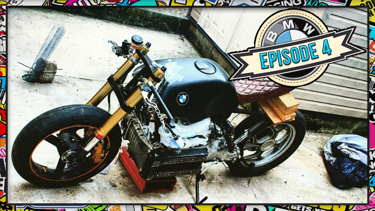 [Ep 04] 1986 BMW K100 Cafe Racer Project - Front End Swap/Conversion