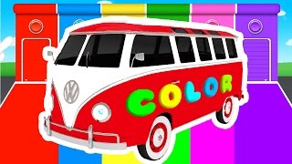 FUN BUS and COLOR for Kids - Cars Superheroes for babies in Learning Educational Video