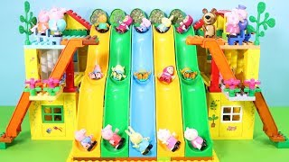 Peppa Pig Building Blocks House Toys For Kids - Lego Duplo House With Water Slide Creations Toys