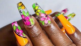 Bright Glass Floral Summer Nail Art Design using MadamGlam Gel Polish