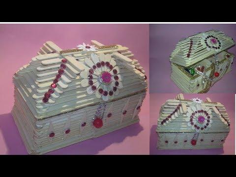 How to Make jewellry box / popsicle stick crafts|jewelry box using Popsicle stick |dustu pakhe