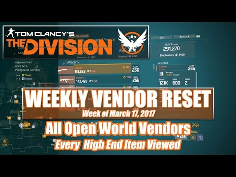 The Division Weekly Vendor Reset (03 - 17-2017) - All Open World Vendors