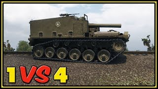 M44 - 10 Kills - 1 VS 4 - World of Tanks Gameplay