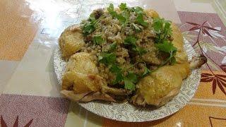 Курица фаршированная рисом и грибами