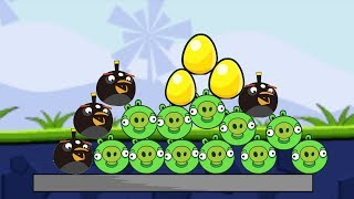 Angry Birds Bomb 1 - KICK ALL THE BIRDS TO PROTECT GOLDEN EGG ALL LEVELS!