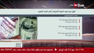 أسواق وأعمال - تطور سعر صرف الدولار الأمريكي أمام الجنيه المصري