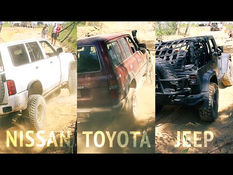 toyota land cruiser, nissan patrol and jeep wrangler offroading