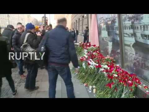 LIVE: Mourners lay flowers for victims of St. Petersburg blast outside Technology Institute station