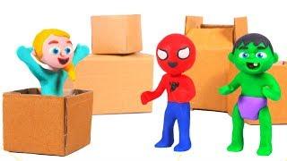 SUPERHERO BABIES BUILD A CARDBOARD CAR ❤ Superhero Babies Play Doh Cartoons For Kids
