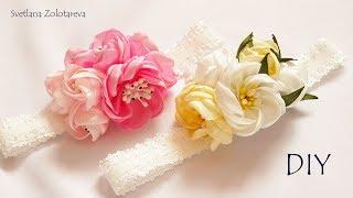 Headband Para Meninas com Flores de Fita