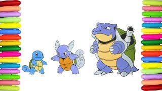 Pokemon coloring pages for kids - Shiny Squirtle, Wartortle and Blastoise