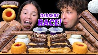 ASMR LEFTOVER CHOCOLATE DESSERT RACE EATING (TWIX, OREO, CHOCOLATE CAKE) 먹방 | Tati ASMR