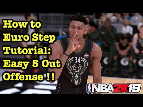 NBA 2K19 Top 3 Beginner Tips: Euro Step Tutorial In 5 Out Offense: Overpowered Dribble Move 2K19 #27