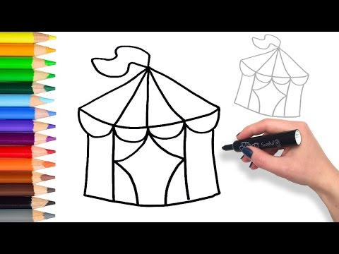 Learn To Draw A Circus Tent | Teach Drawing For Kids And Toddlers Coloring Page Video