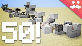 Minecraft: 50 Different Redstone Contraptions in ONE TAKE!