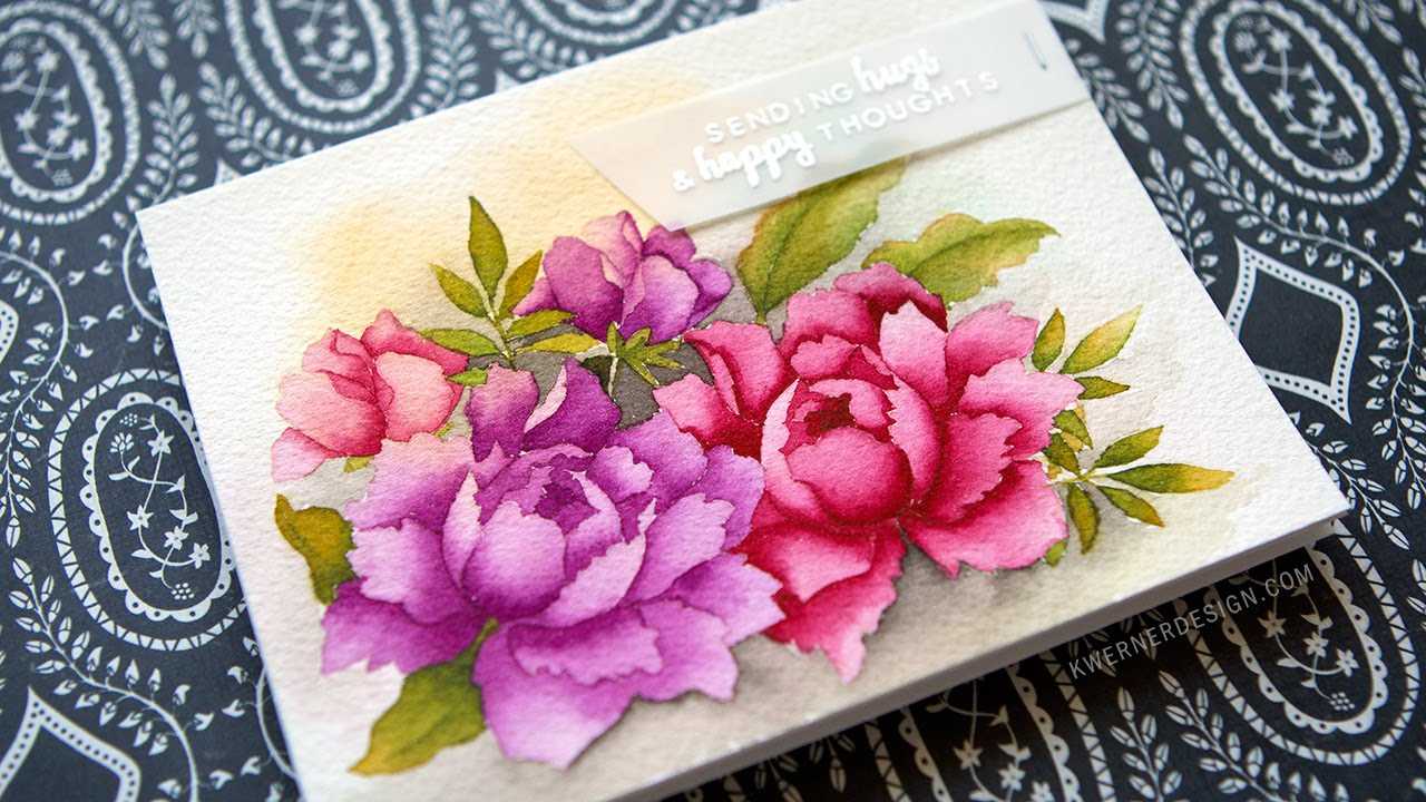 No-Line Watercoloring with Altenew Flower Stamps - YouTube