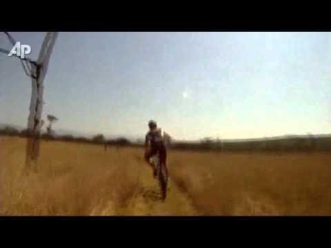 Raw Video: Antelope Hits Biker During Race