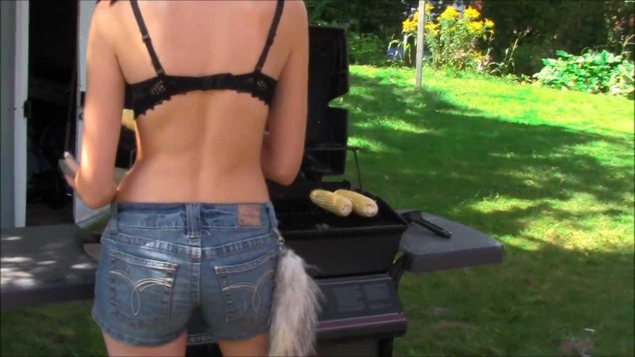Sexy women cooking on the grill