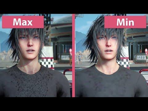 [4K] Final Fantasy XV – PC Min vs. Max Graphics Comparison & Frame Rate Test