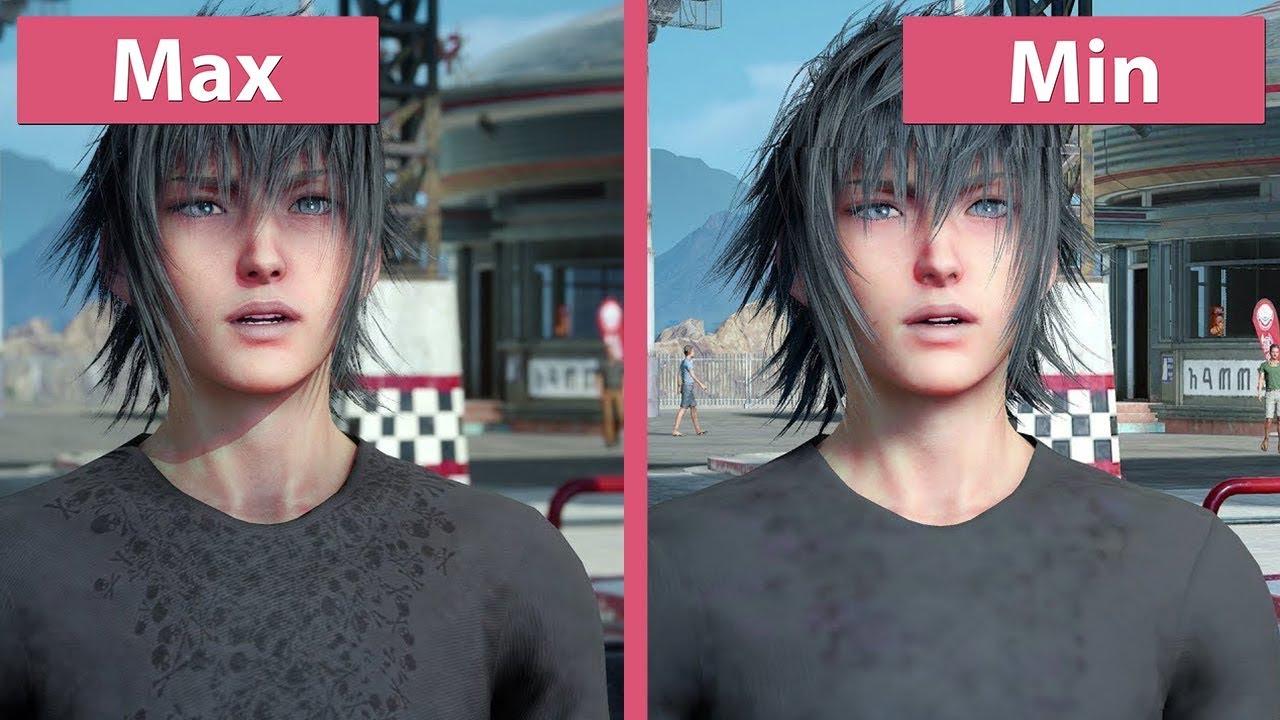 [4K] Final Fantasy XV – PC Min vs  Max Graphics Comparison & Frame Rate Test
