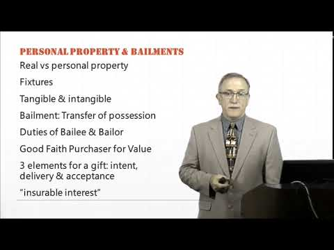 Introduction to Law:  Personal Property and Bailments