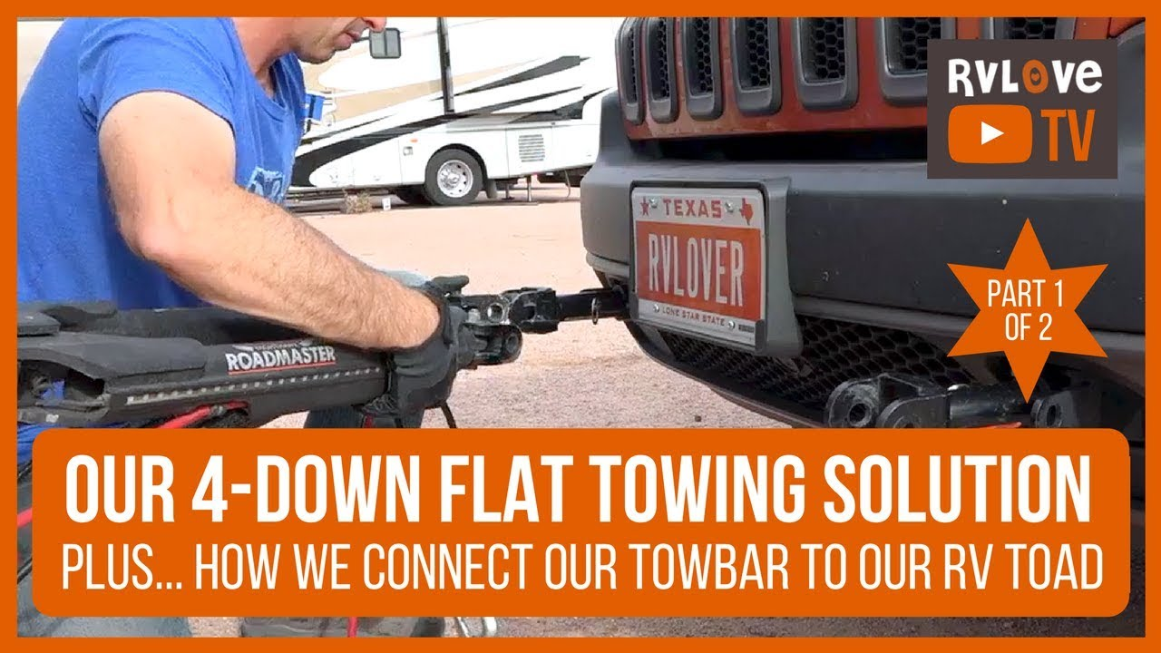 part 1 of 2 our 4 down rv flat towing setup what towbar we chose why how we connect it [ 1280 x 720 Pixel ]