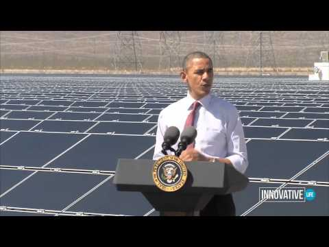 President Obama Talks at Renewable Energy PV Solar Panels Plant