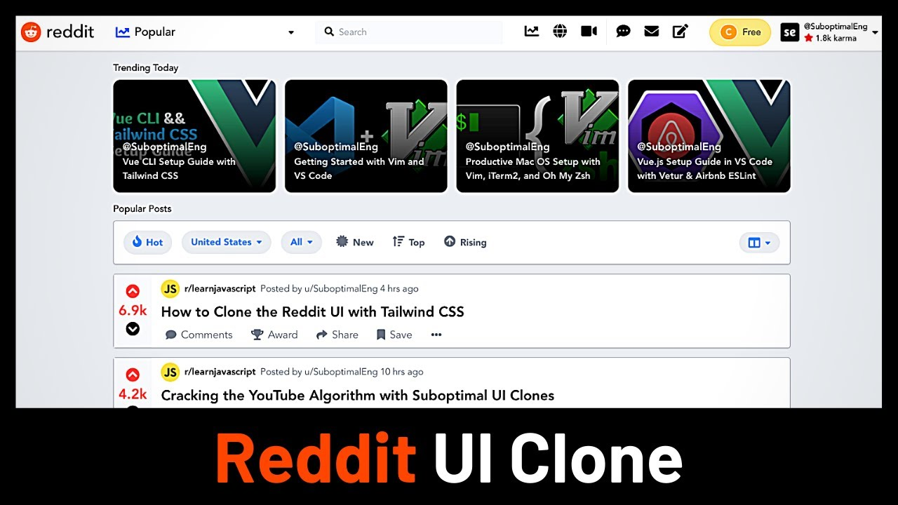 Recreating the Reddit UI with Tailwind CSS [Suboptimal Clone #2]