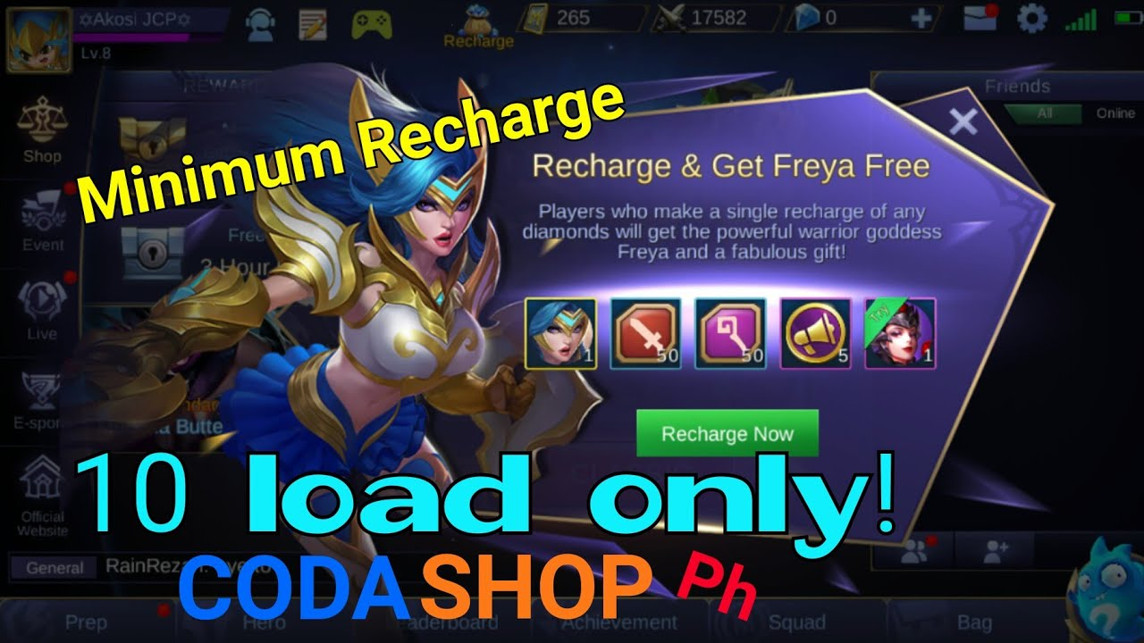 how to recharge and get freya for 10 load | mobile legends