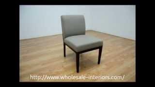 Wholesale Interiors Catalina Taupe Twill Fabric Dining Chair With Dark Wood Legs