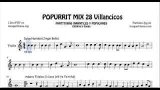 28 Popurrí Mix Villancicos Partituras de Violín Dulce Navidad Adeste Fideles Los Campanilleros