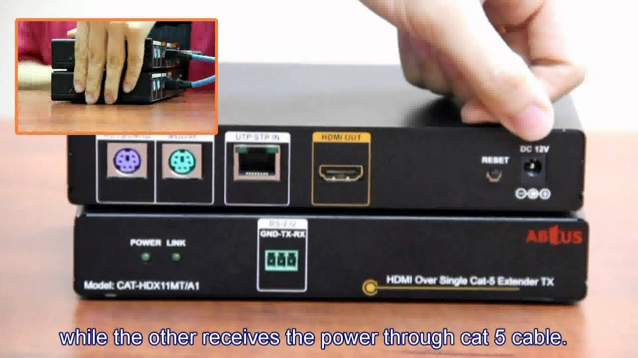 Abtus hdmi over single cat 5 extender youtube abtus hdmi over single cat 5 extender sciox Images