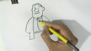 How to draw an easy Cartoon man  - in easy steps for children, kids, beginners