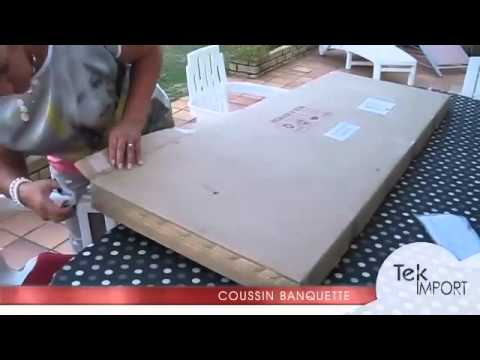 coussin banquette 150x54cm tek import youtube. Black Bedroom Furniture Sets. Home Design Ideas