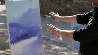 Mountain motive/Пленэр в Ялте Игорь Сахаров пишет горы