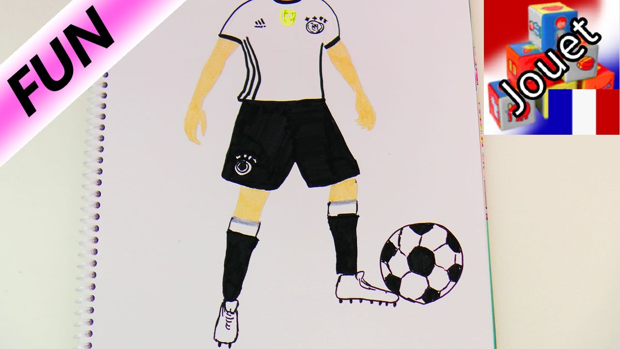 joueur de l 39 quipe de foot allemande thomas m ller dessiner un footballeur youtube. Black Bedroom Furniture Sets. Home Design Ideas