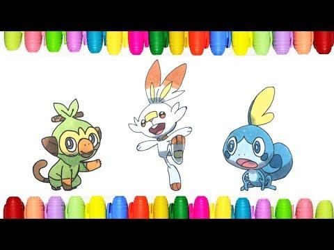 Coloring Gen 8 New Pokemon Initials Grookey Scorbunny And Sobble Youtube
