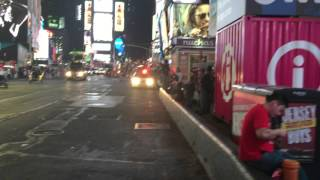 NYPD UNMARKED CRUISER & A MOUNT SINAI HOSPITAL EMS AMBULANCE RESPONDING SEPARATELY IN TIMES SQUARE.