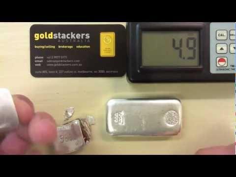 Ultrasonic testing of fake silver bar