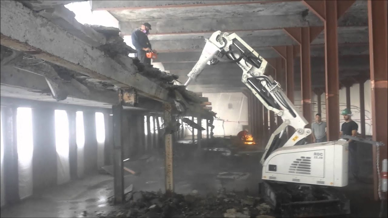 Interior Demolition Using Alpine Remote Controlled Demolition Machine Youtube