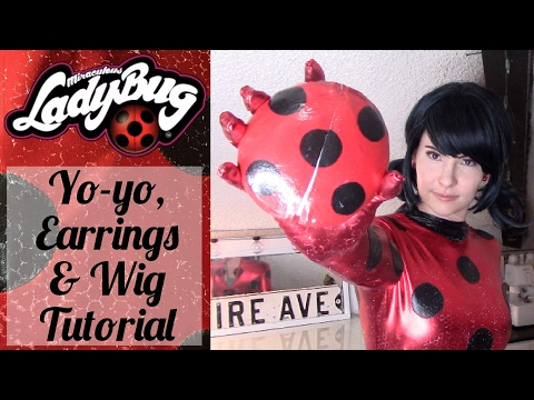 Ladybug Accessories Tutorial - Yoyo(Lights up) , Earrings, & Wig