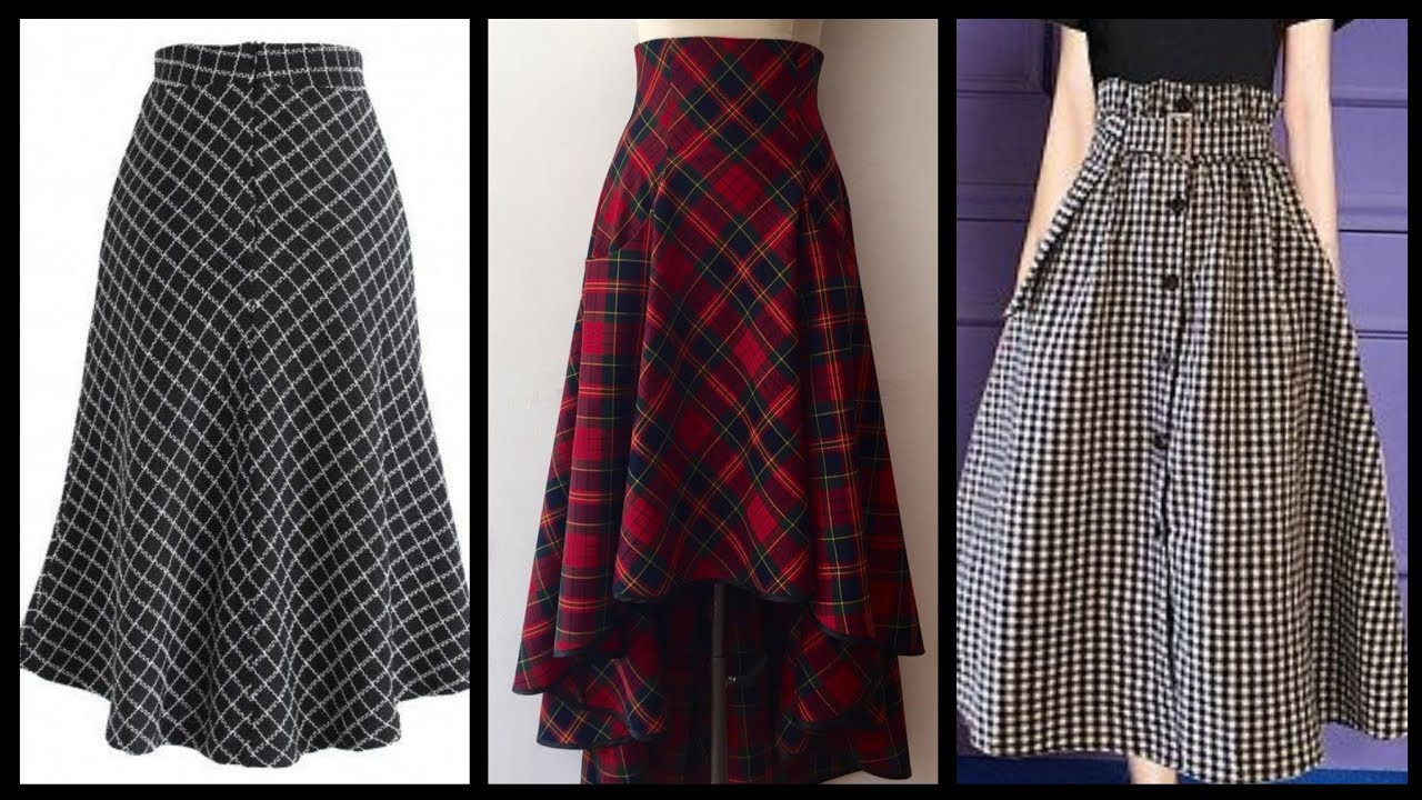 [VIDEO] - vintage retro plaid A line check print skirts - checked print wniter skirts to wear with blouses/top 1